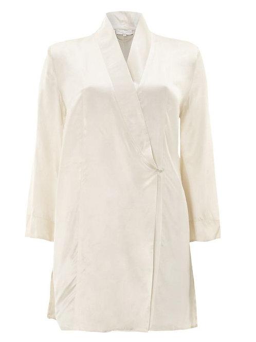 ANNE WIGGINS Cream 100% Silk Dressing Gown (RARE & COLLECTABLE)