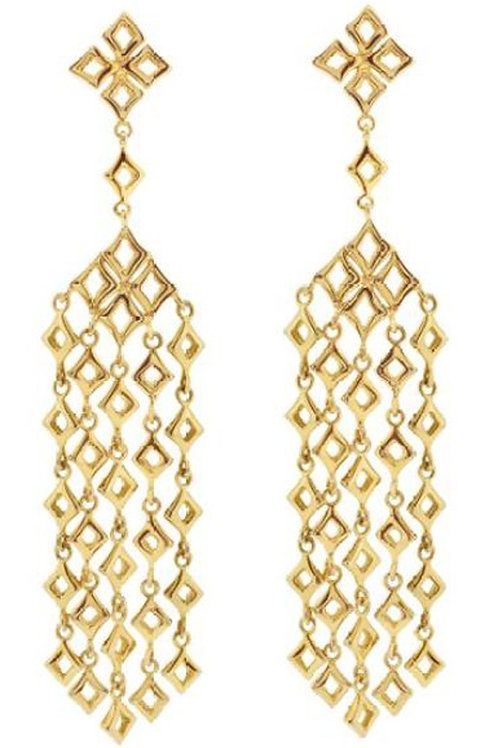 DINNY HALL 22ct Yellow Gold Vermeil Almaz Large Multi Drop Earrings (RARE&COLL)