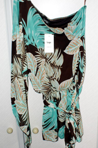 M & Co Logo Leaf Print One Shoulder Top