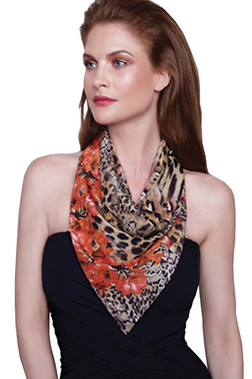 GOTTEX Collection Silk Maculato Scarf/Bandana/Asymmetric Sarong 15MA-531R (R&C)