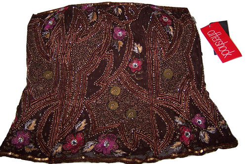 AFTERSHOCK Brown Silk Sequined Embellished Embroidered Bustier (RARE & COLLECT)