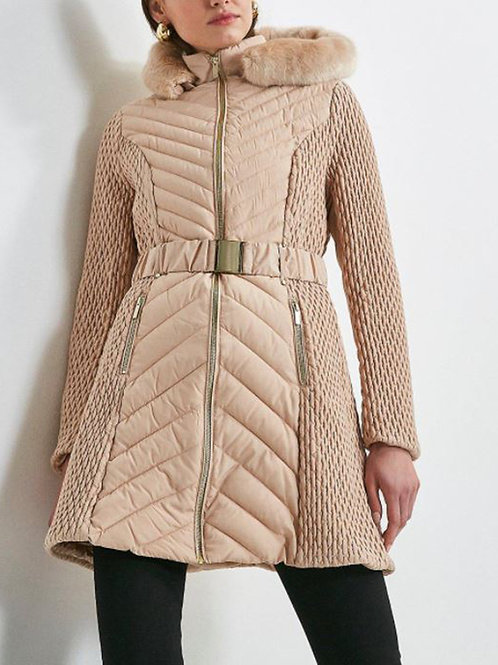 KAREN MILLEN Long Quilted Faux Fur Trimmed Hood Coat(RARE & COLLECTABLE)