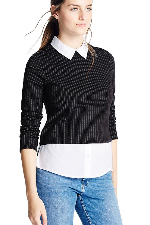 MARKS & SPENCER COLLECTION Pinstriped Mock Double Layer Top