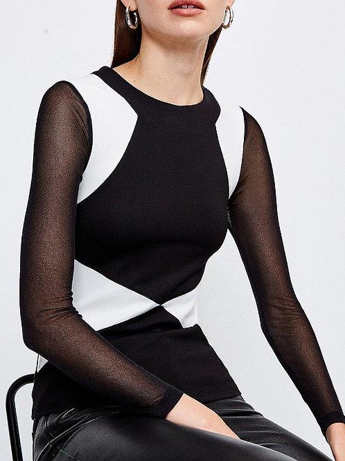 KAREN MILLEN Long Sleeve Colour Block Jersey Top(RARE & COLLECTABLE)