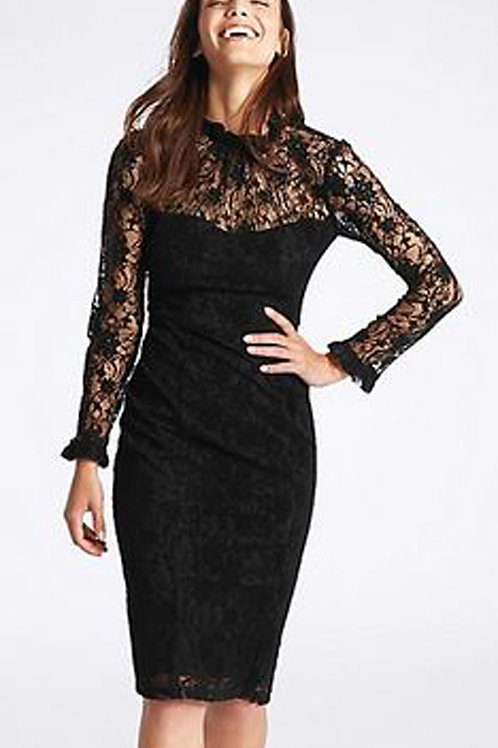 MARKS & SPENCER COLLECTION Floral Lace Long Sleeve Bodycon Midi Dress T42/8020