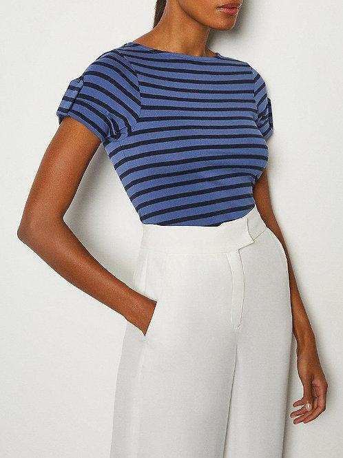 KAREN MILLEN Mix Cotton Jersey Stripe T-Shirt(RARE & COLLECTABLE)