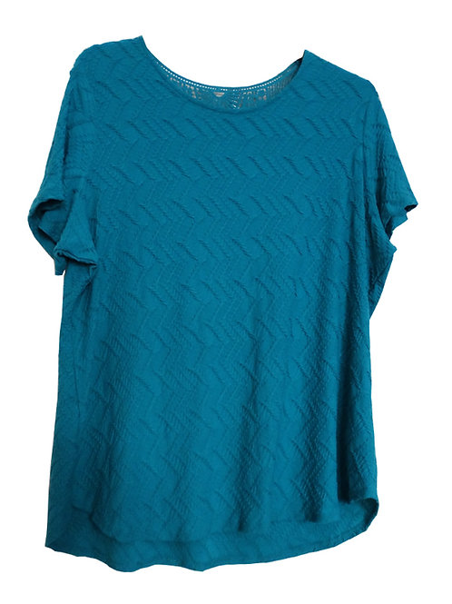 MARKS & SPENCER PER UNA Ladies Turquoise Textured Crochet Lace Top