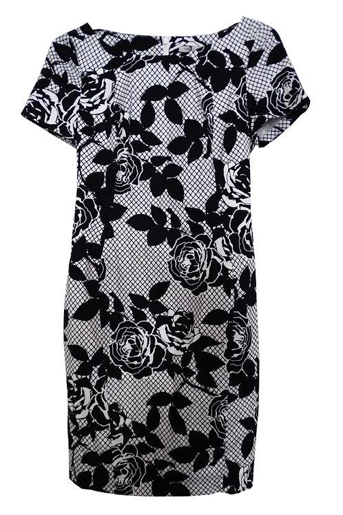 M&S COLLECTION Monochrome Rose Print Dress T42/1288