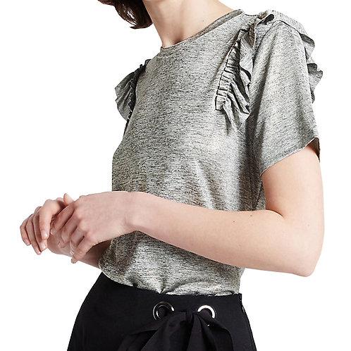 MARKS & SPENCER Limited Edition Shoulder Frill Short Sleeve T-Shirt T41/2157L