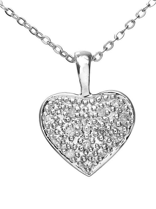 9ct White Gold Pave Set Diamond Heart Pendant and Chain of 46cm (RARE & COLLECT)