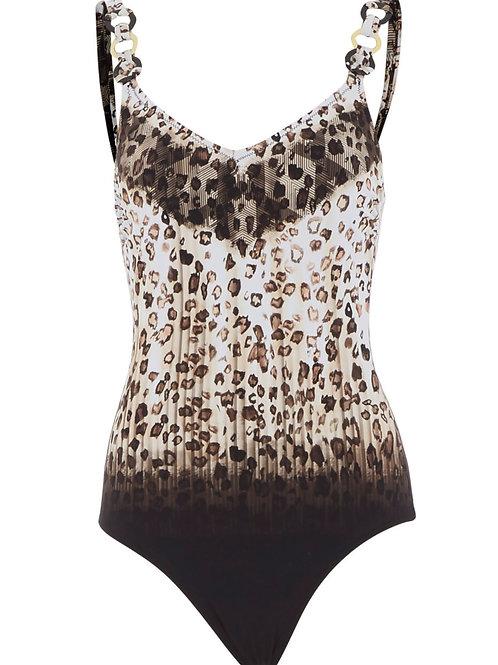 MIRADONNA Animal Print Shoulder Detail Swimsuit (RARE & COLLECTABLE)