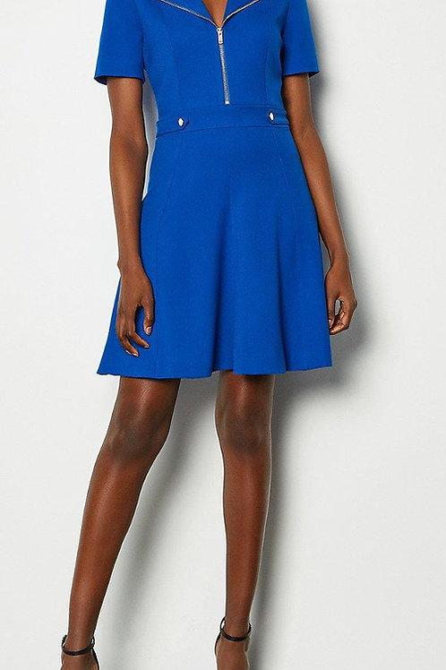 KAREN MILLEN Zip Placket Short Sleeve A-Line Dress (RARE & COLLECTABLE)