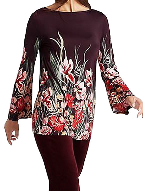 MARKS & SPENCER COLLECTION Floral Print Slash Neck Long Sleeve Tunic