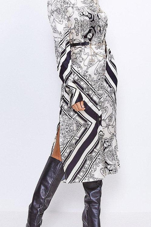KAREN MILLEN Silk Printed Shirt Dress(RARE & COLLECTABLE)