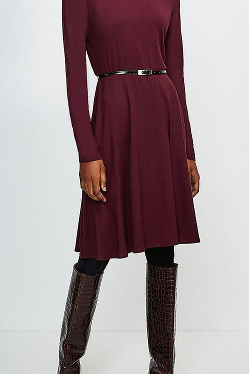 KAREN MILLEN Long Sleeve Funnel Neck Viscose Jersey Dress(RARE & COLLECTABLE)