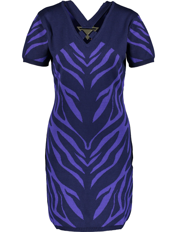 VERSACE JEANS Navy & Purple Stripe Dress