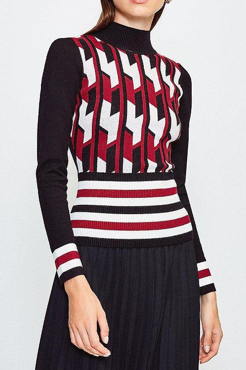KAREN MILLEN Geo Stripe Knit Jumper(RARE & COLLECTABLE)