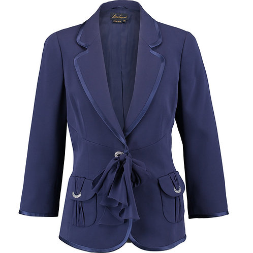 LUISA SPAGNOLI Vigil Navy Embellished Silk Blazer (RARE & COLLECTABLE)