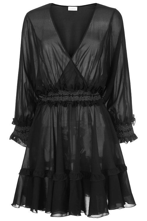 LA PERLA BEJEWELED Short Silk Stretch Dress With Ruffles(RARE & COLLECTABLE)
