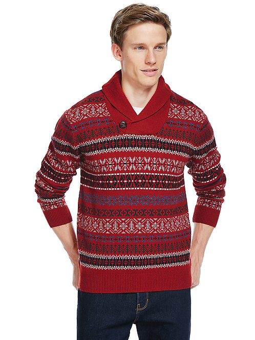 MARKS & SPENCER COLLECTION Wool Blend Fair Isle Shawl Neck Jumper T30/2314M
