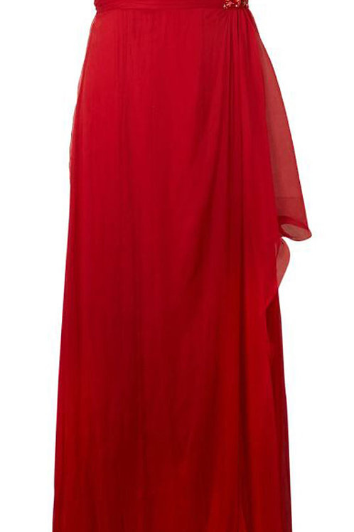 MIKAEL AGHAL Red Crushed Silk Embellished Evening Maxi Dress (RARE & COLLECTABLE