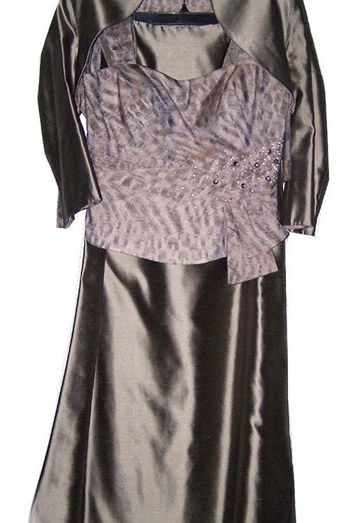 JOHN CHARLES Taupe Embellished Maxi Three Piece Outfit (RARE & COLLECTABLE)