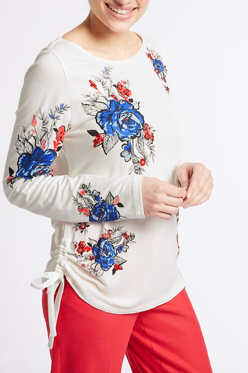 M&S PER UNA Embellished Floral Print Long Sleeve Top T414/588U (RARE & COLLECT)