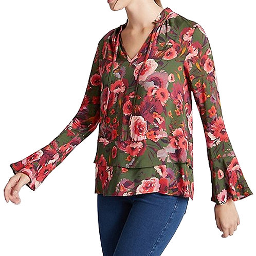 M&S COLLECTION Floral Print Tie Neck Long Sleeve Blouse