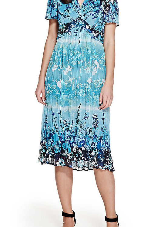 M&S PER UNA Lagoon Crinkle Midi Dress T62/6698J