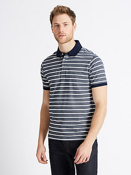 M&S COLLECTION Slim Fit Pure Cotton Striped Polo Shirt T28/5188S (RARE & COLL)