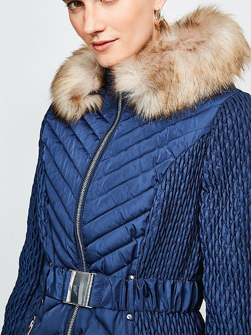 KAREN MILLEN Short Quilted Faux Fur Trimmed Hood Coat(RARE & COLLECTABLE)
