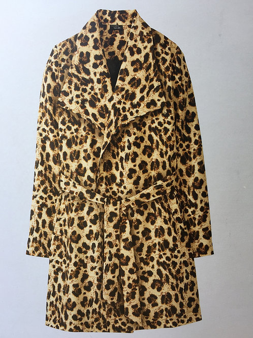 ESMARA By HEIDI KLUM Animal Print Open Trench Coat with Large Lapel Collar