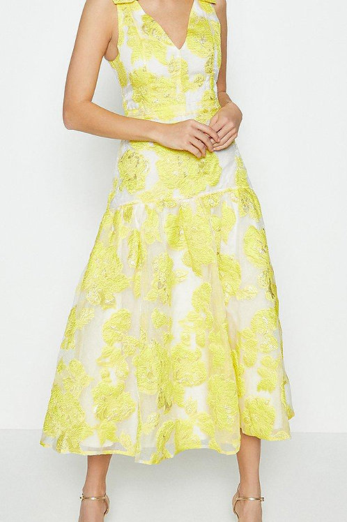 COAST Sleeveless Bow Detail Puff Hem Midi Dress