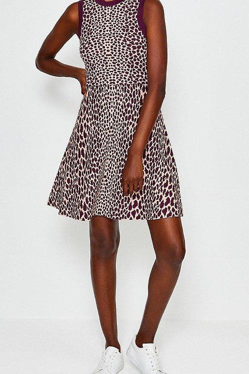 KAREN MILLEN Sleeveless Leopard Flippy Knit Dress(RARE & COLLECTABLE)