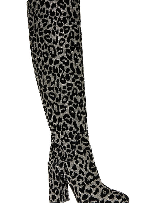 DOLCE & GABBANA Leather Leopard Print Knee High Boots (RARE & COLLECTABLE)