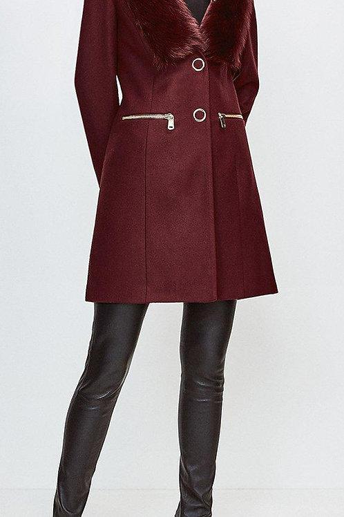 KAREN MILLEN Wool Blend Long Pile Collar Zip Detail Coat (RARE & COLLECTABLE)