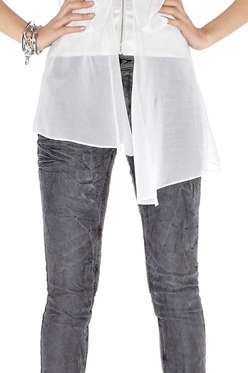 KAREN MILLEN Light Grey Silk Corset Top (RARE & COLLECTABLE)