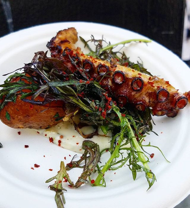 charred Octopus w/ Weiser Fingerlings anchovy remoulade, mustard frills & blood orange mojo