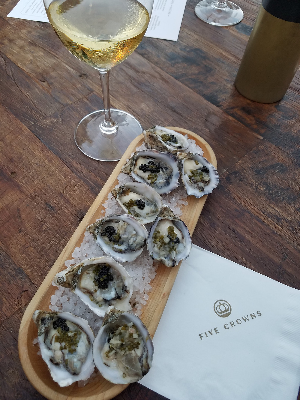 Kushi oysters with mignonette and caviar