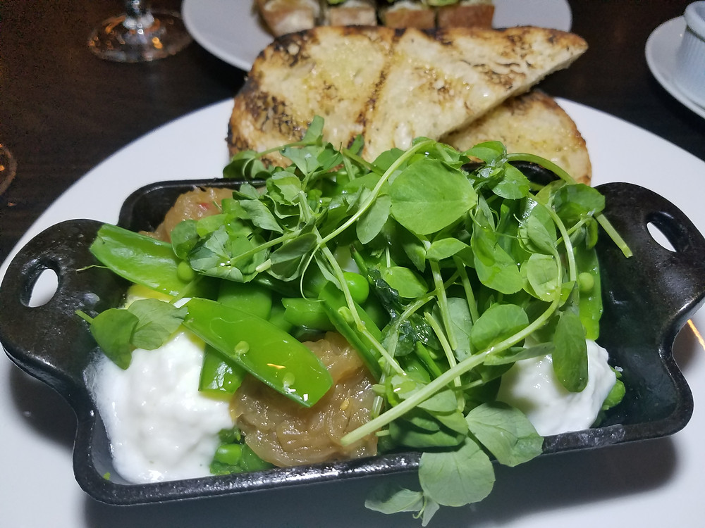 jalapeno pea mash with caramelized onion, sugar snap peas, pea leaves, toasted sourdough and burrata cheese