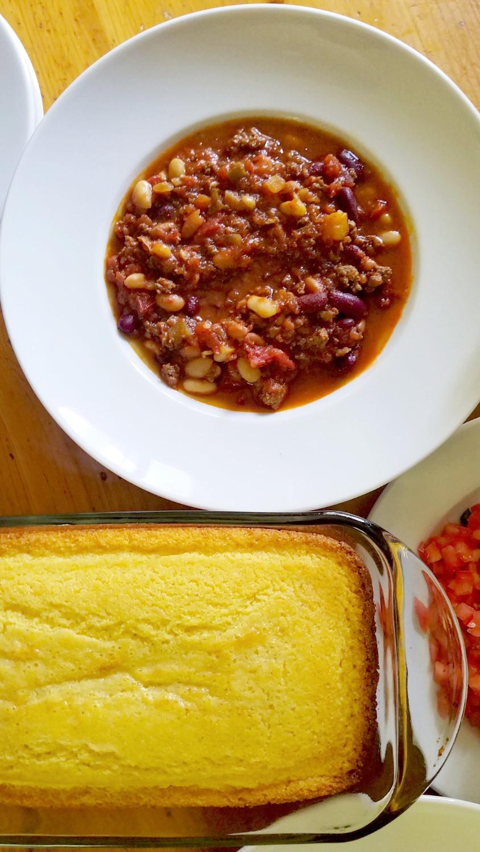 chili bean soup and Stonewall Kitchen Cornbread mix