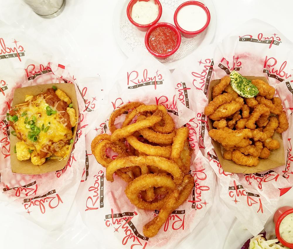 chili cheese tater tots, onion rings, and calamari