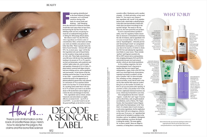 How to decode a skincare label