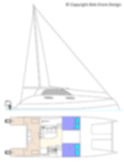 12mt - Lamont - Sail option - Side Elevation and 10mt - Hull General Arrangement