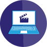 Round laptop and claperboard icon