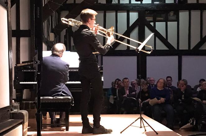 Samuel Jones plays the trombone