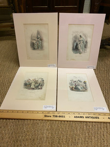 Antique French hand colored engravings from Les Fleurs Animees by Grandville circa 1867