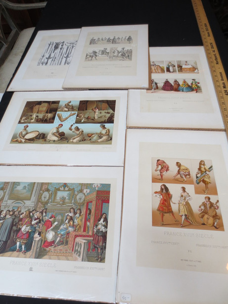 Antique French color Lithograph Le COSTUME HISTORIQUE by Albert RACINETprints by A. Racinet circa 1870s