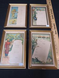 Vintage French framed tasting menu templates