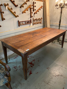 Antique French farmhouse table with breadboard end pine top and tapered leg table